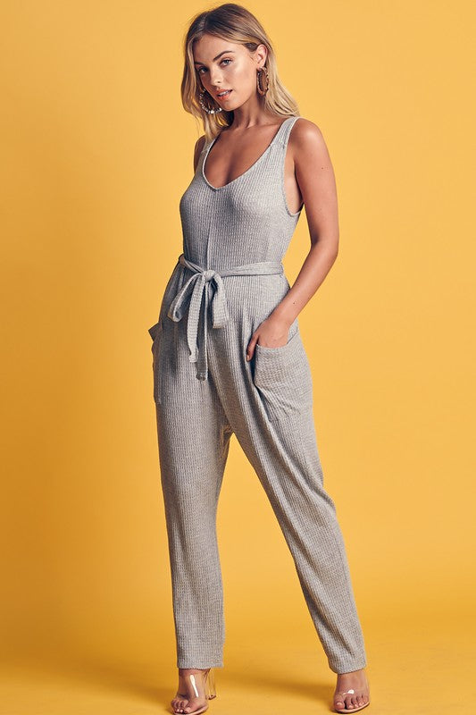 Waffle Textured Waist Tie Jumpsuit - Coveted Style