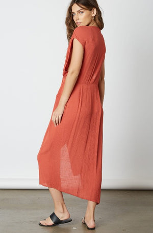 Deep V Front Knot Midi Dress - Coveted Style