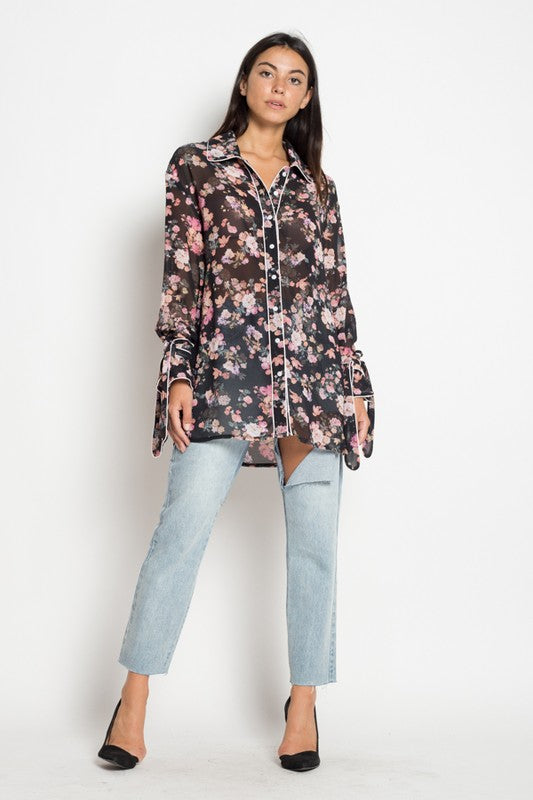 Black Button Front Floral Pajama Style Blouse Cultur D Collective