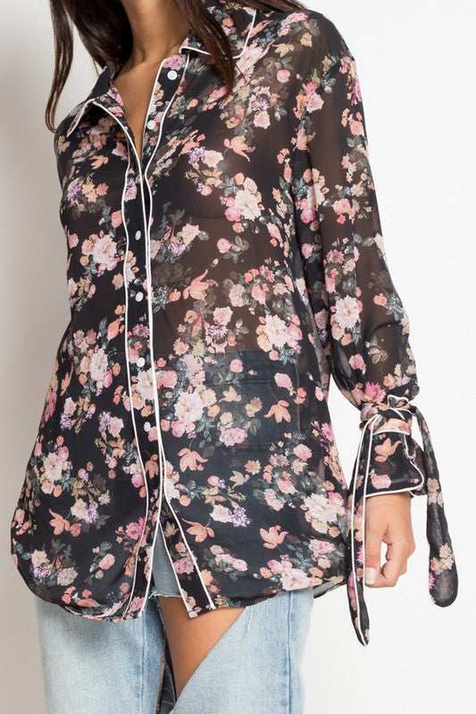 Black Button Front Floral Pajama Style Blouse - Cultur'd Collective