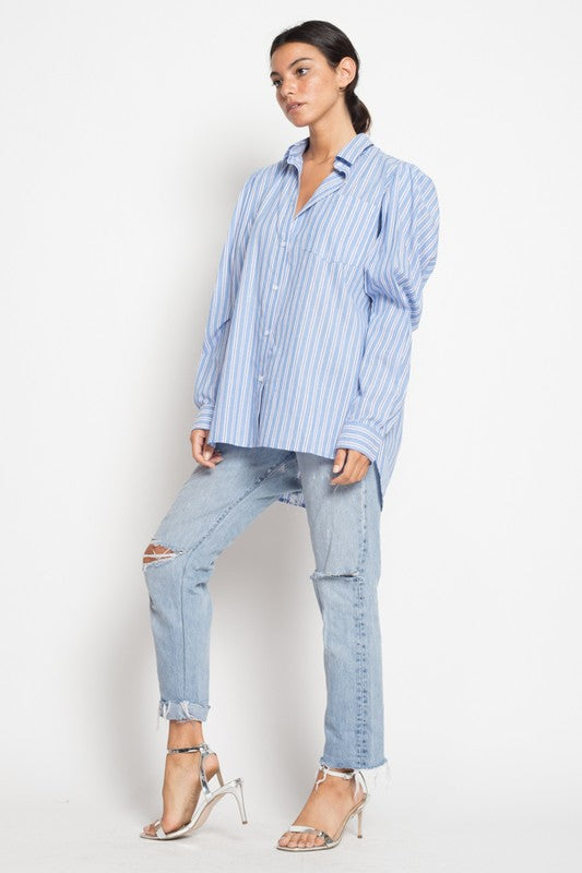 Shop Stylish Women's Oversized Cutout Button-Front Shirt at Coveted Style.