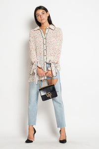 White Button Front Floral Pajama Style Blouse - Coveted Style