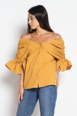 Shop Yellow Off-Shoulder Blouse with Statement Sleeve at Cultur'd Collective.