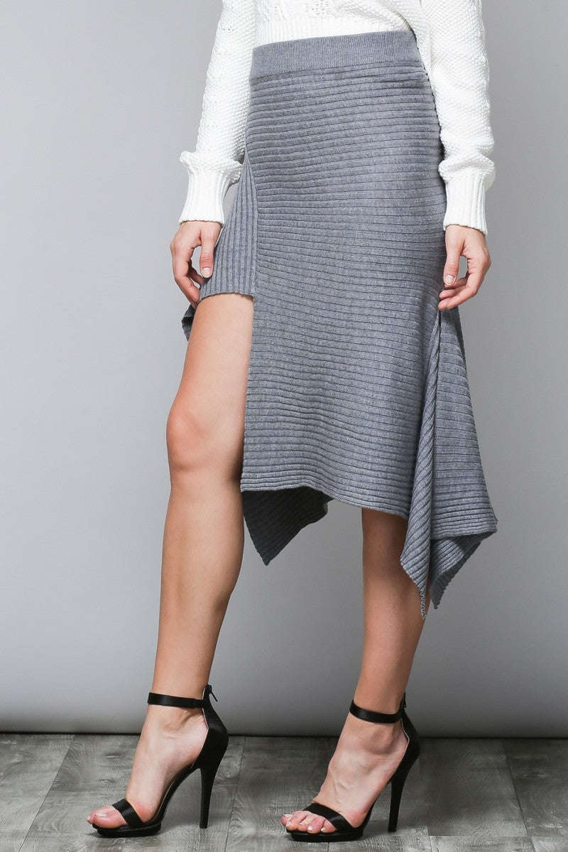 Gray Asymmetric Ribbed Midi Skirt - Coveted Style