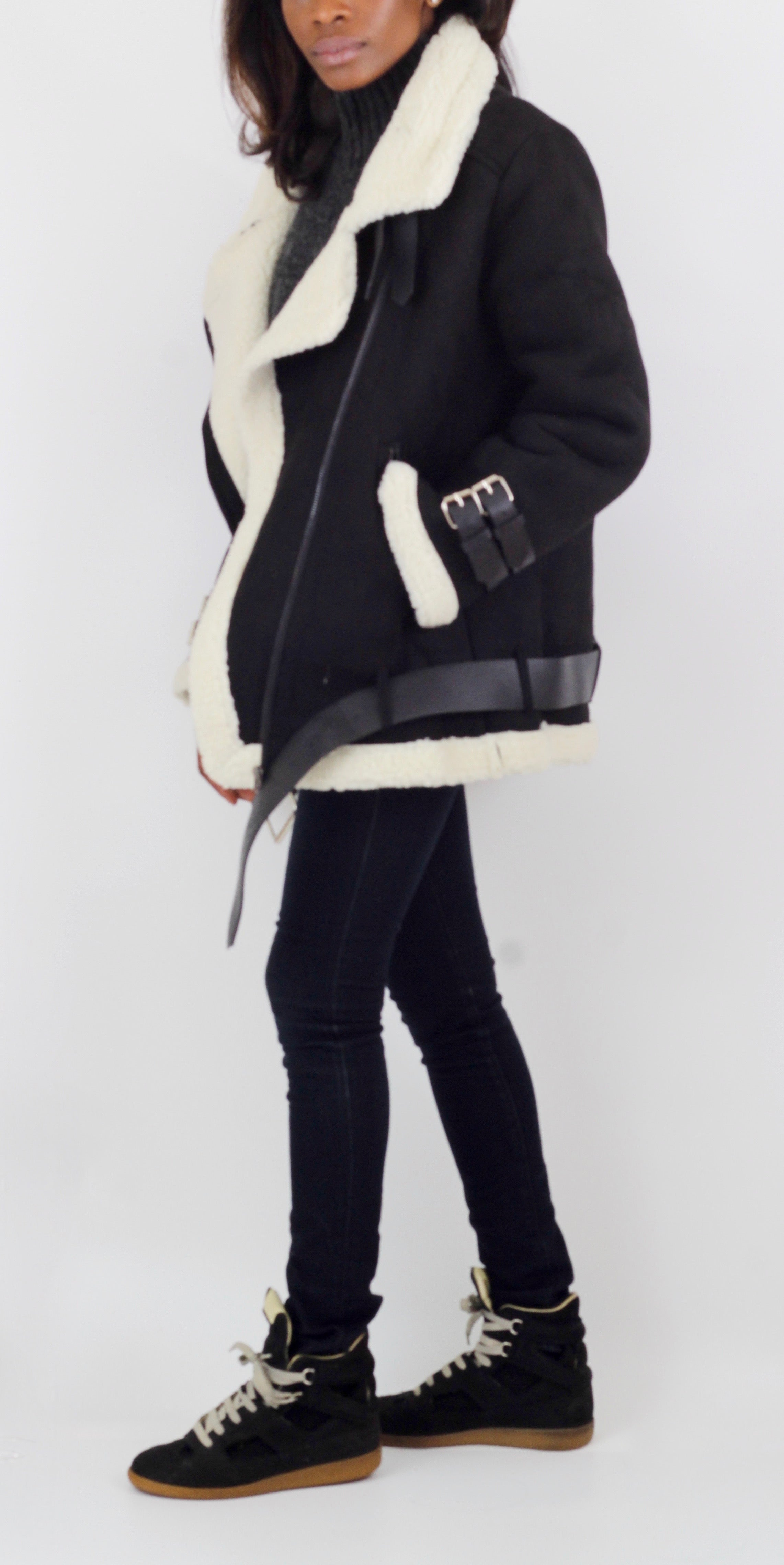 Shop women's black faux shearling aviator jacket at Coveted Style.