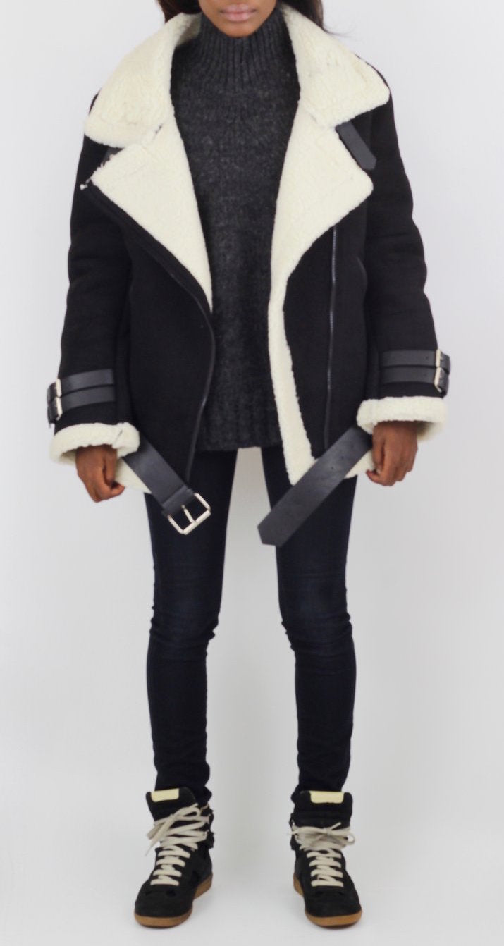 Black and White Faux Shearling Aviator Jacket - Coveted Style