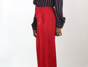 Red Wide Leg Trouser - Coveted Style