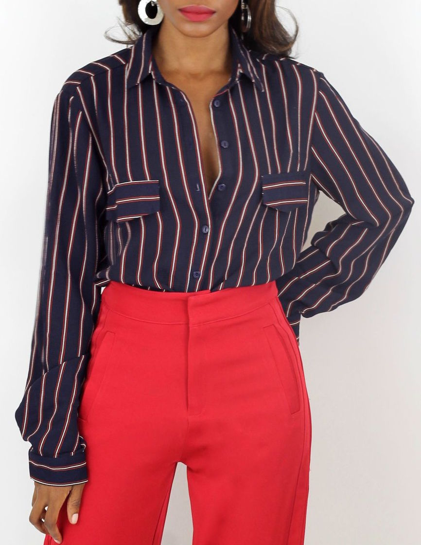 Erin Long Sleeve Striped Shirt - Coveted Style
