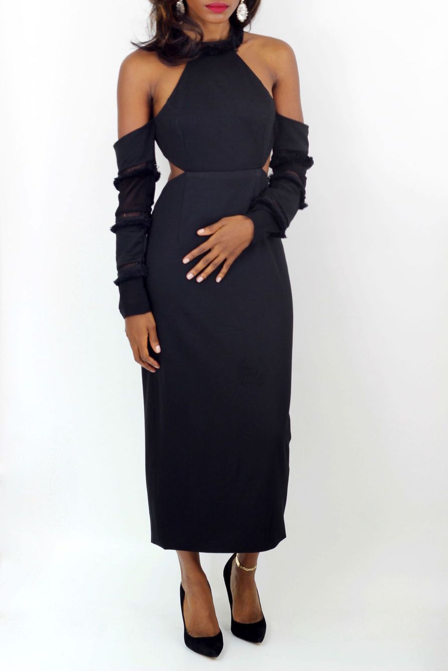 Black Cold Shoulder Cutout Dress - Coveted Style