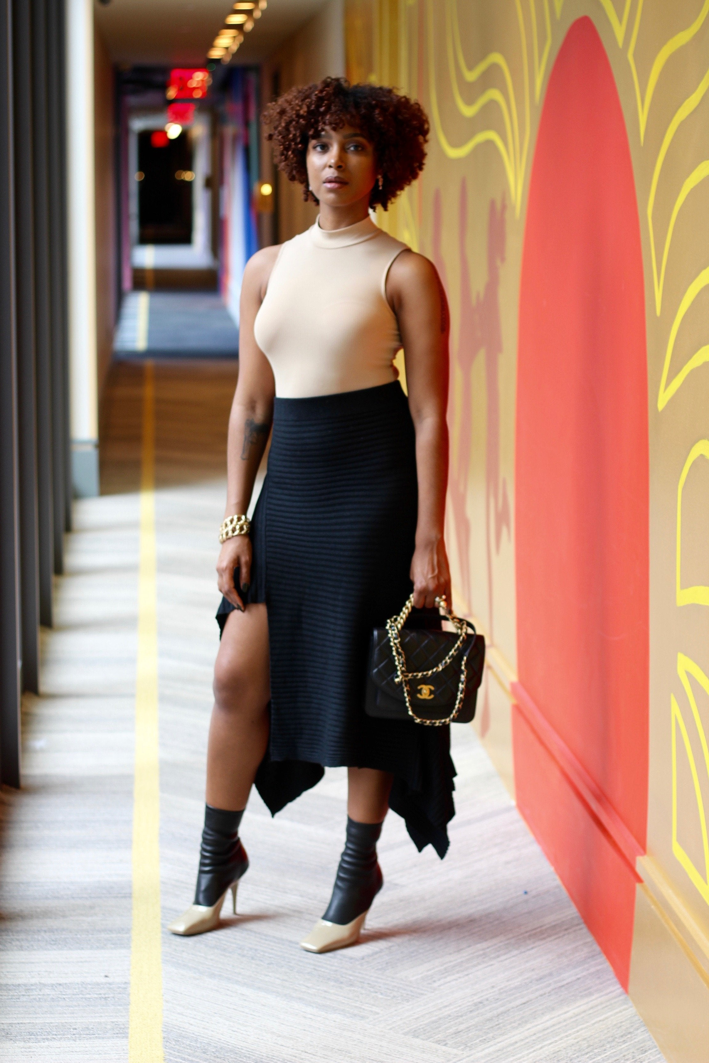 Black asymmetrical ribbed skirt