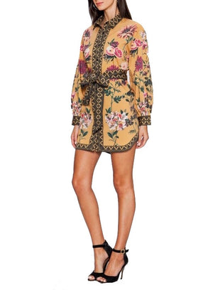 Aztec Floral Shirt Dress - Coveted Style