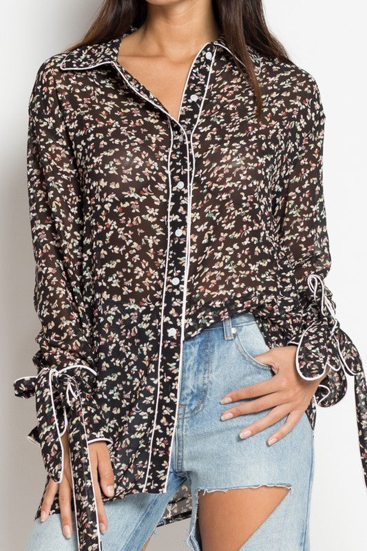 Black Mini Floral Pajama Style Blouse - Coveted Style