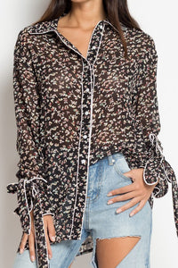 Black Mini Floral Pajama Style Blouse - Cultur'd Collective