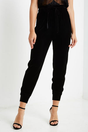 Shop Rich Velvet Jogger Pants in Black at Cultur'd Collective.