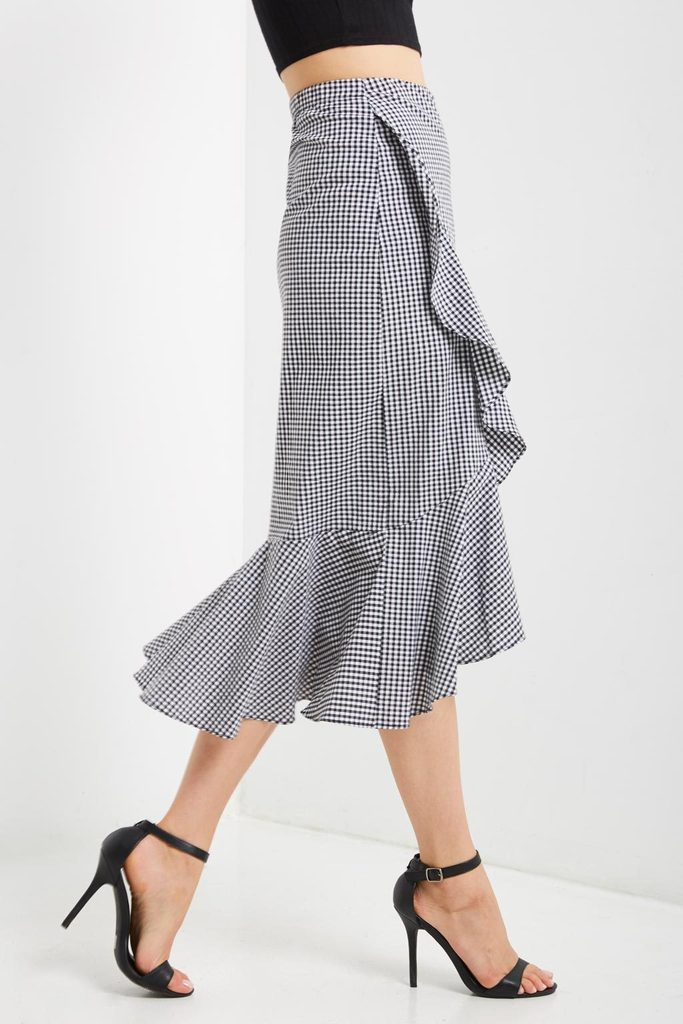 Gingham Ruffle Hem Skirt - Coveted Style