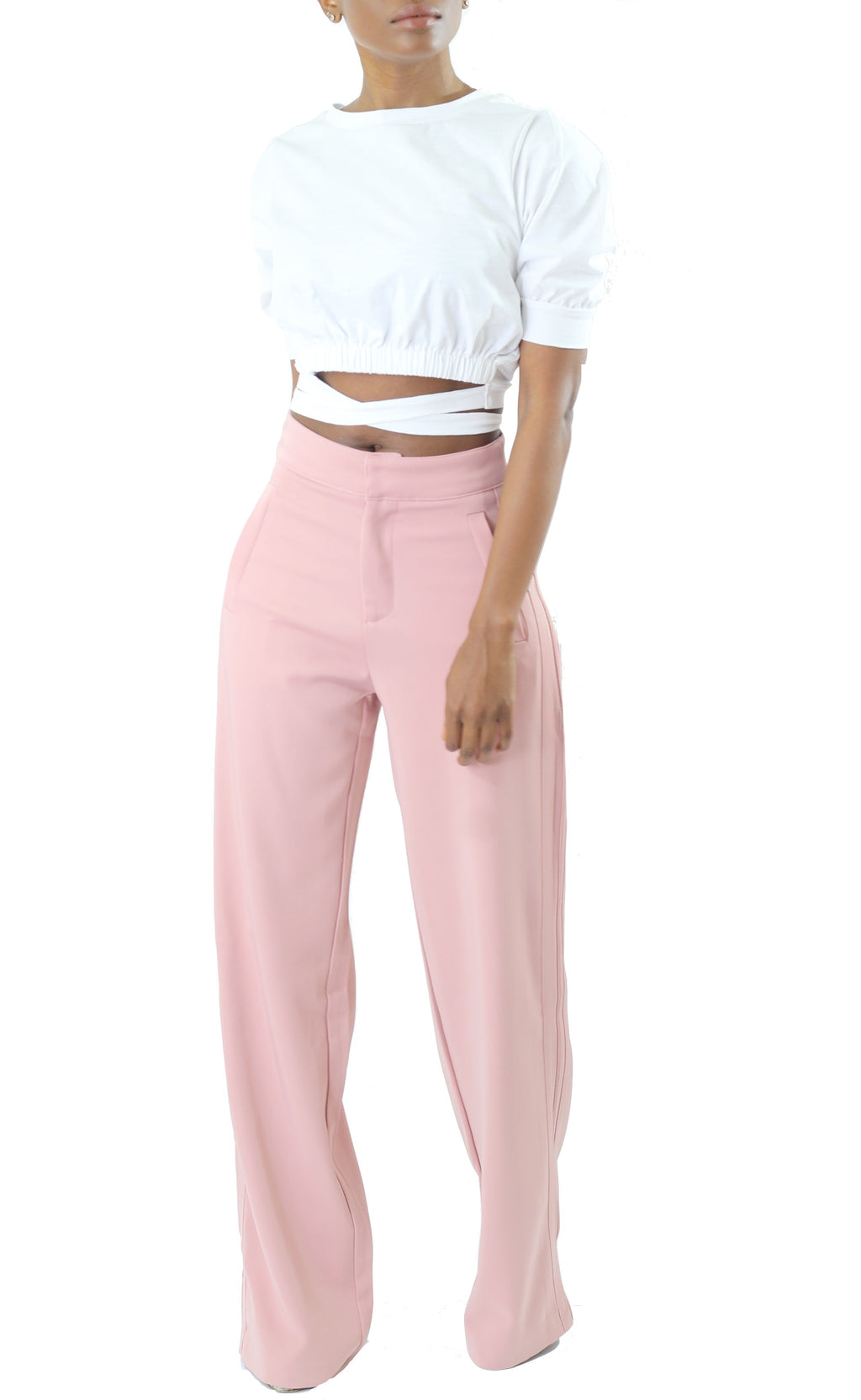Blush High Waist Wide Leg Trouser - Coveted Style