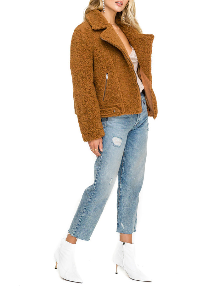 Brooklyn Faux Shearling Teddy Moto Jacket - Cultur'd Collective