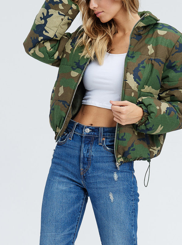 Camo Puffer Jacket - Coveted Style