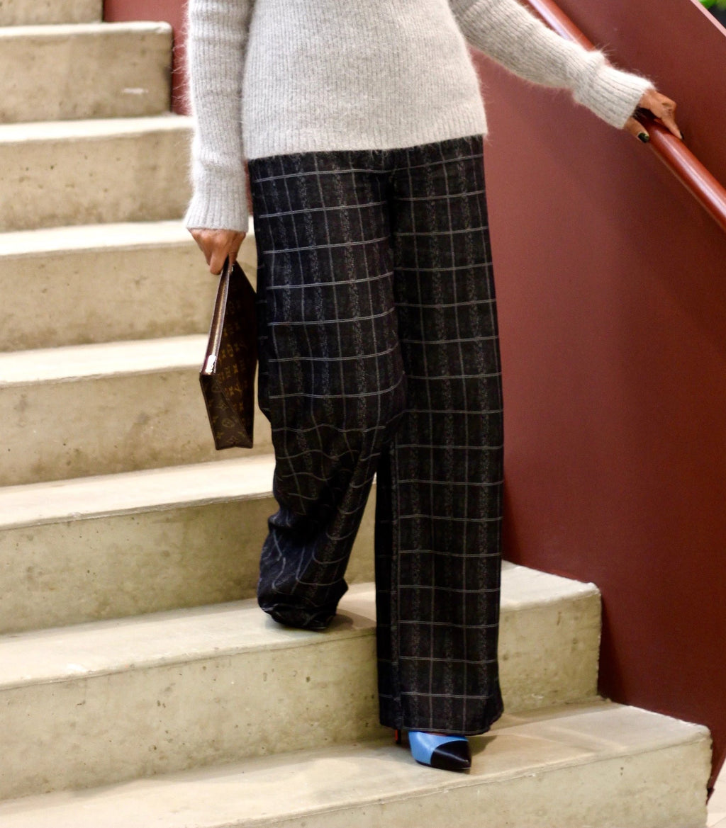 High Waisted Plaid Wide Leg Pant