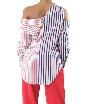 Off Shoulder Deconstructed Striped Top - Coveted Style