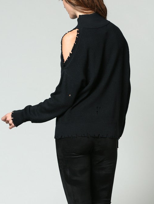 Distressed Cut-Out Shoulder Mock Neck Sweater - Coveted Style