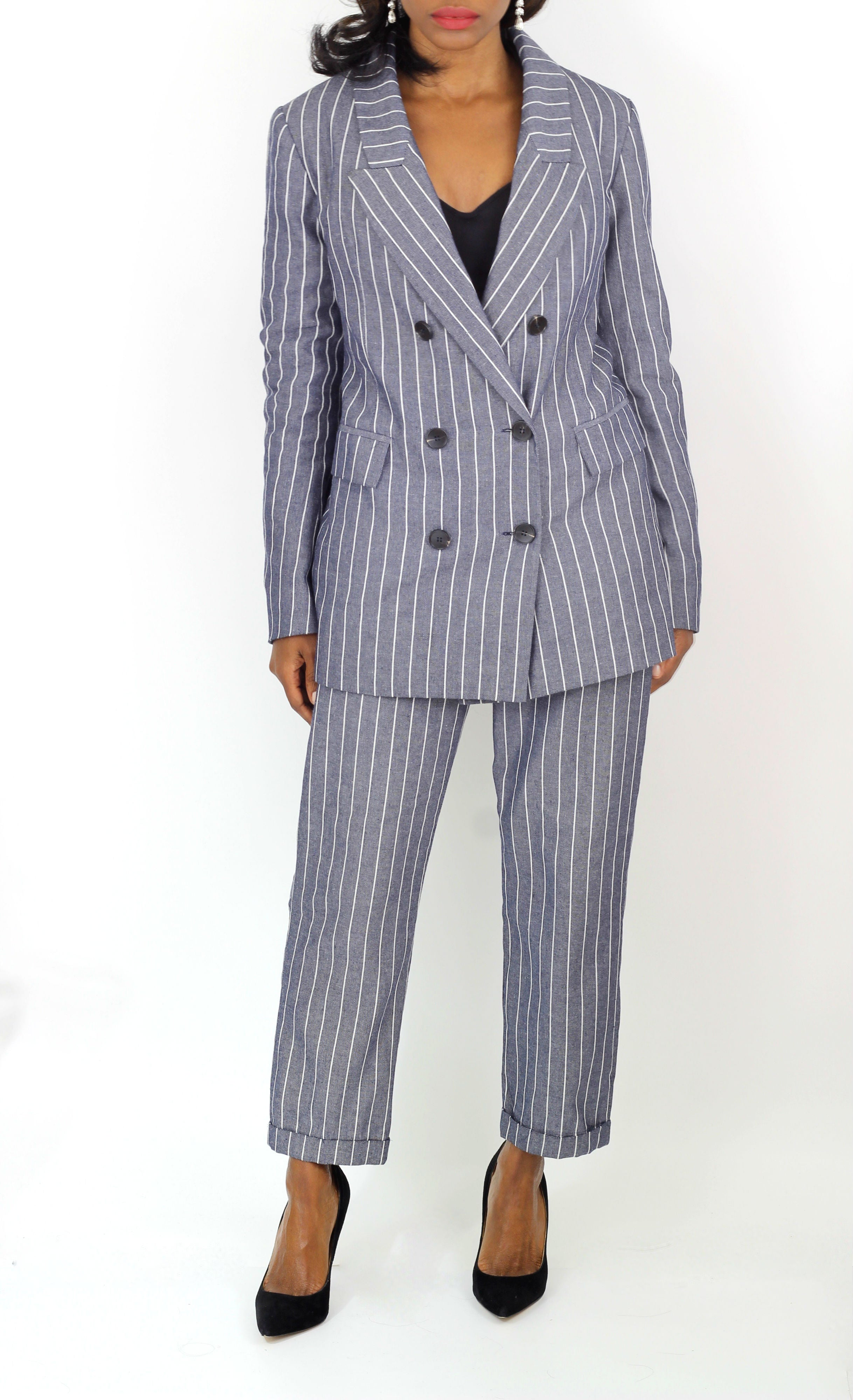 Re:Named pinstripe double breasted blazer and heels. Shop Coveted Style