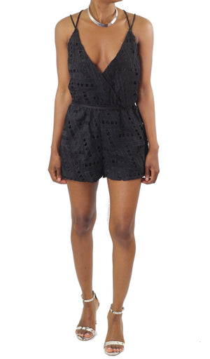 Strappy Open Back Eyelet Playsuit - Coveted Style