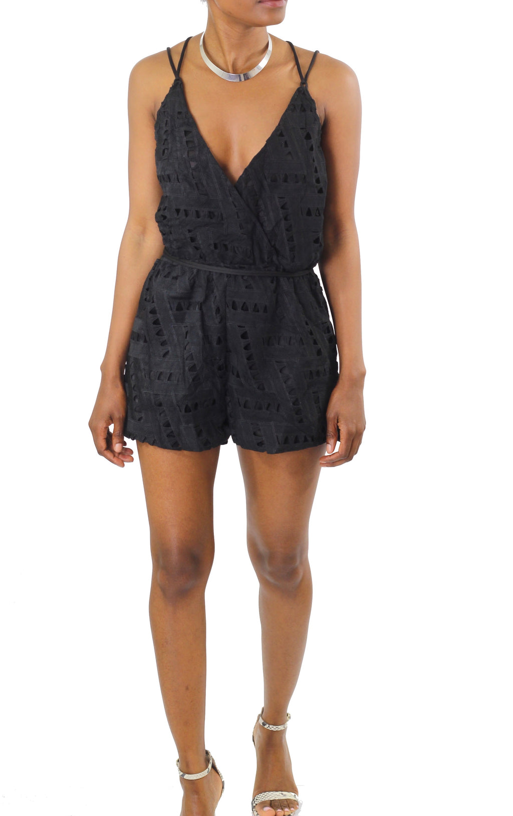 Strappy Open Back Eyelet Playsuit - Cultur'd Collective