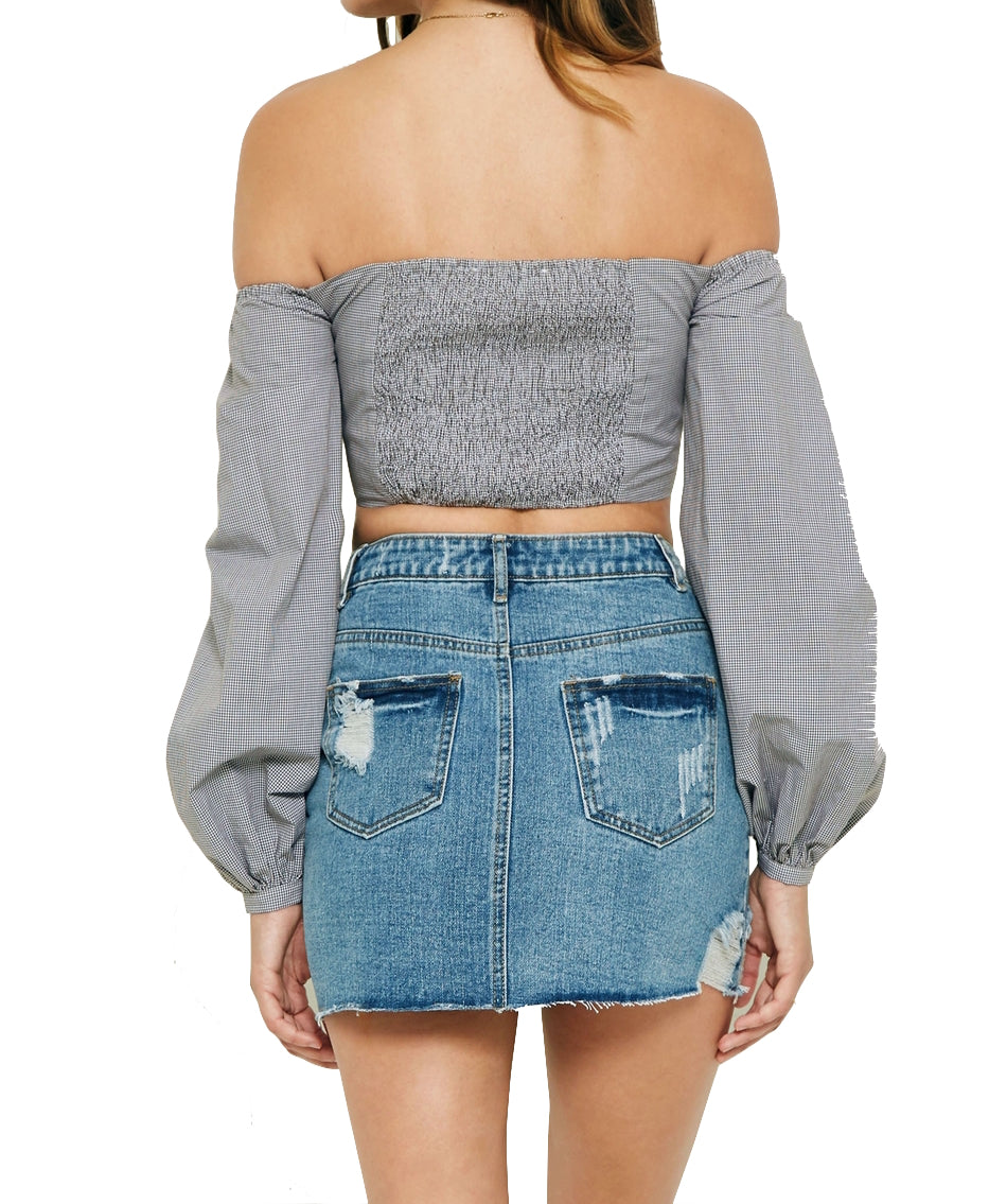 Gingham Bell Sleeve Off-Shoulder Crop Top - Cultur'd Collective