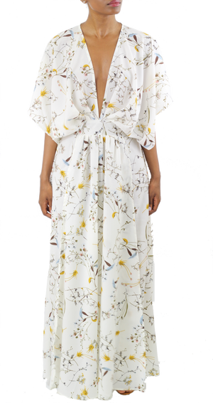 White Floral Kimono Dress - Coveted Style
