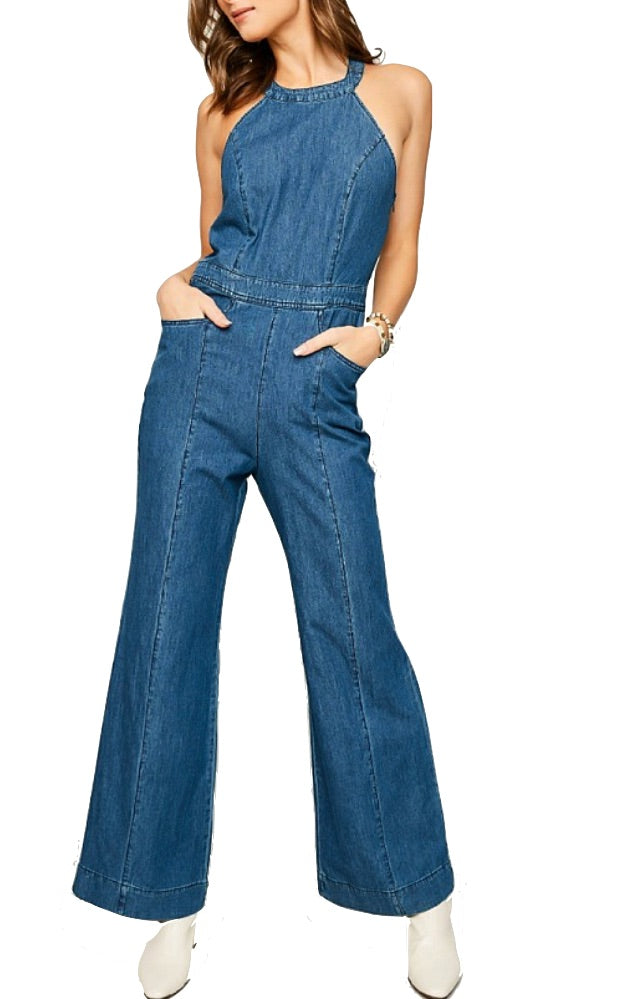 Wide Leg Denim Jumpsuit - Coveted Style