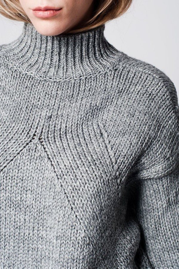 Shop Women's Chunky Heather Gray Oversized Sweater at Cultur'd Collective Detail Shot