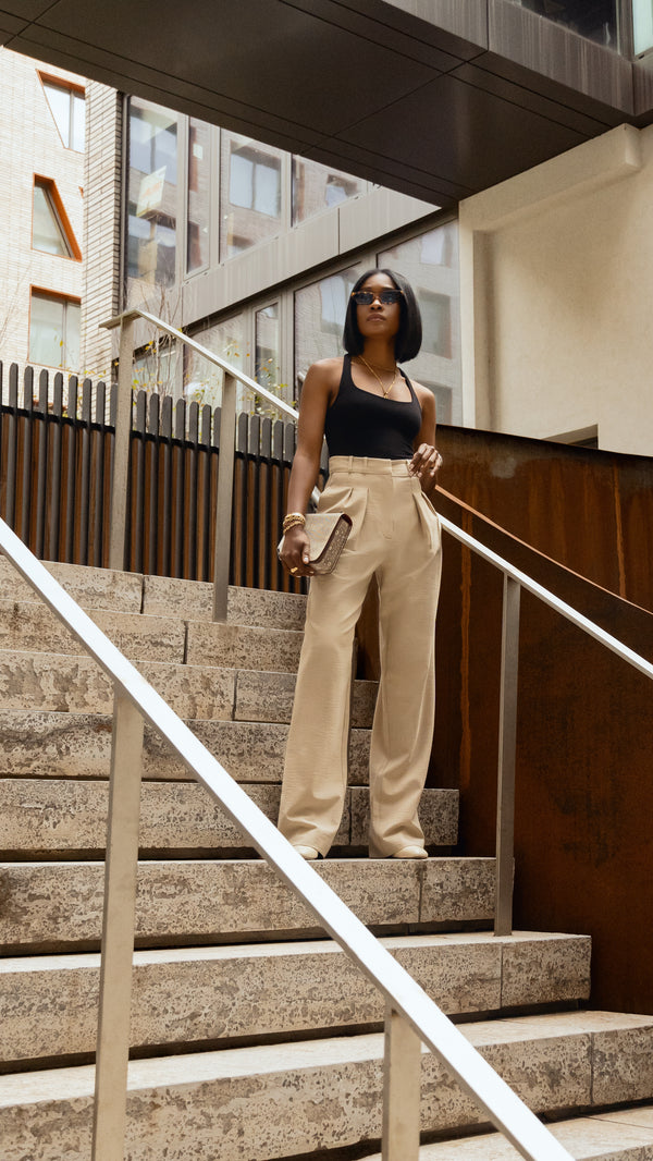 Madison High Waist Crepe Wide Leg Beige Trousers