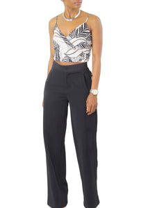 Black High Waist Wide Leg Trouser - Coveted Style