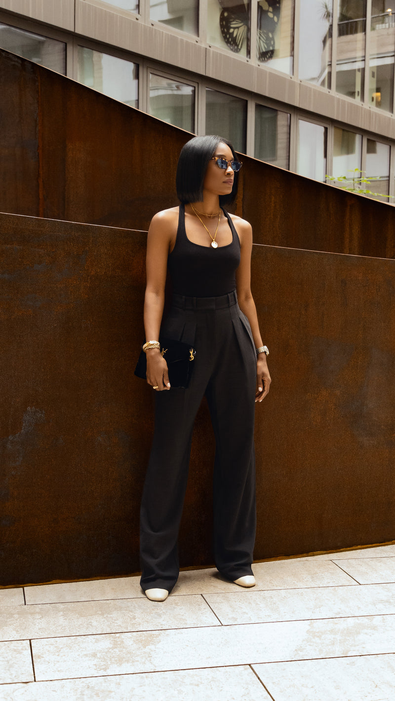 Madison High Waist Crepe Wide Leg Black Trousers