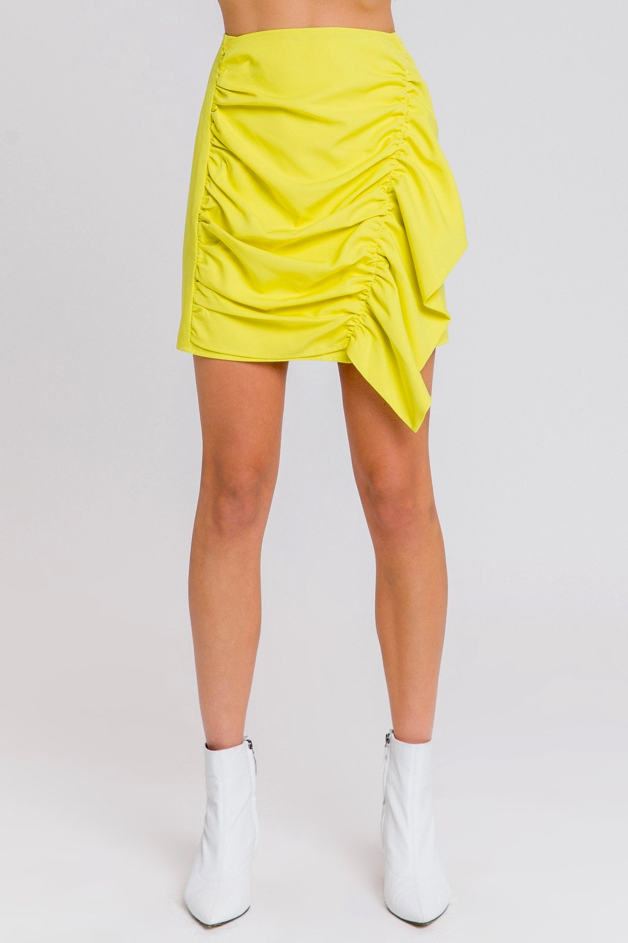 Highlighter Yellow Ruffled Mini Skirt - Coveted Style