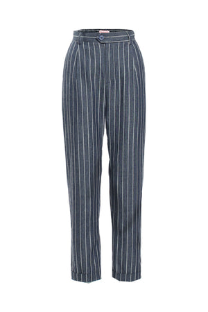 Re:Named Pinstriped blue trouser and heels. Shop Coveted Style