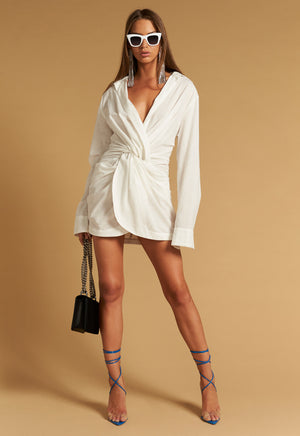 Hey You Twist Front Shirt Dress - Coveted Style