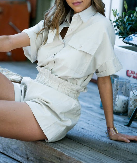 Two-Piece Khaki Set - Coveted Style