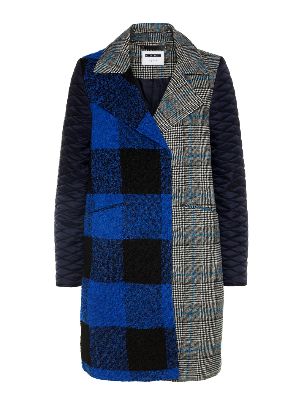 Shop Noisy May Blue Chequered Panelled Coat for Women at Coveted Style
