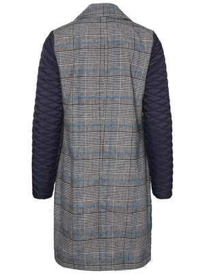 Chequered Panelled Coat - Coveted Style