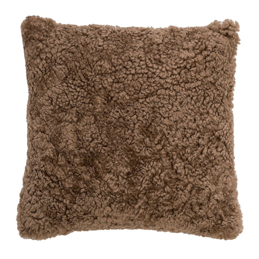 Mongolian sheep fur brown pillow
