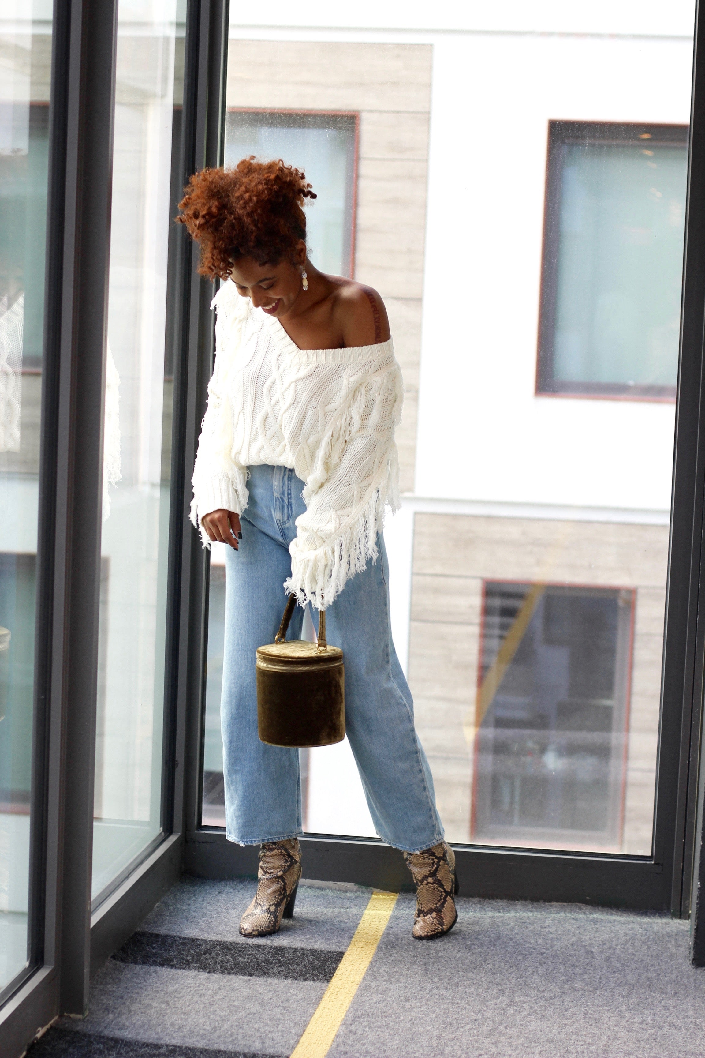 Fringed Cable Knit Sweater - Coveted Style