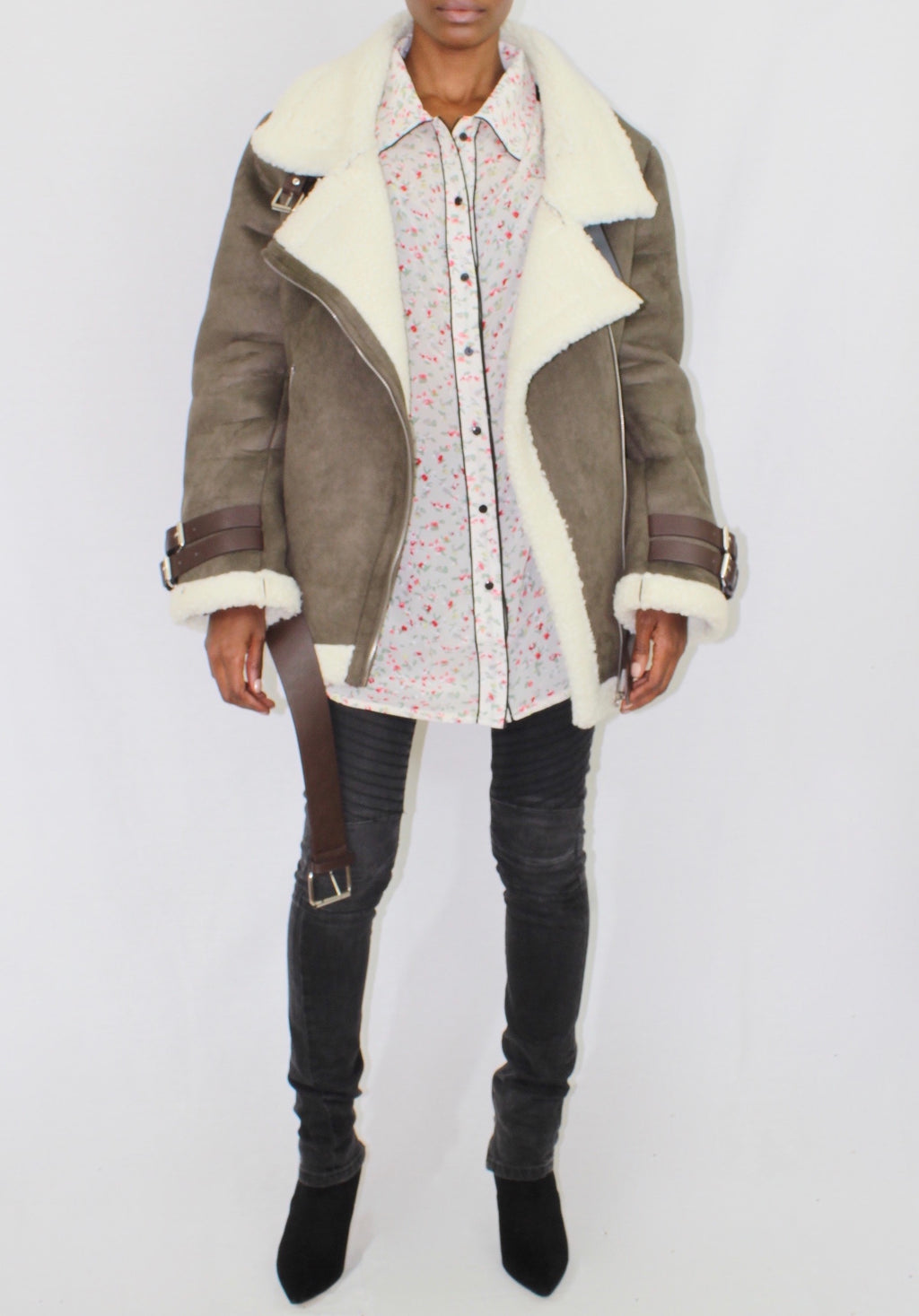 Olive Faux Shearling Aviator Jacket - Cultur'd Collective