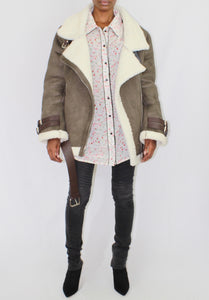 Olive Faux Shearling Aviator Jacket - Coveted Style