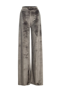 Olive Side Slit Velvet Wide Leg Palazzo Trouser - Coveted Style