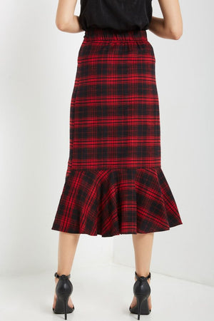 Red Plaid Ruffle Midi Skirt - Coveted Style