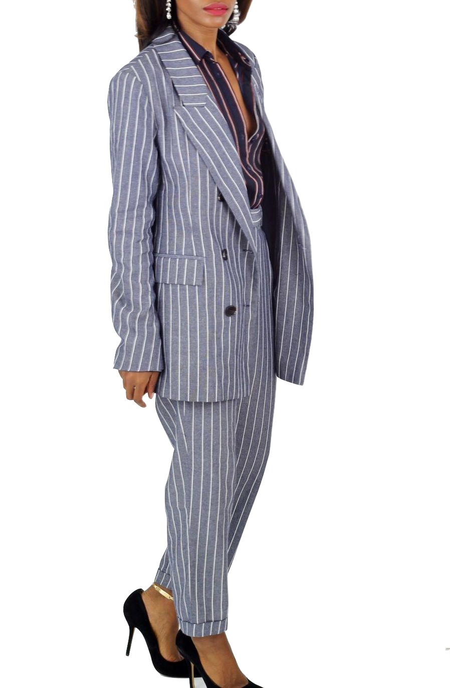 Double Breasted Pinstriped Blazer - Cultur'd Collective