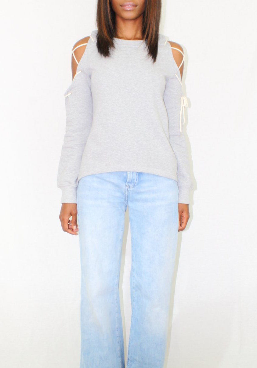 Lace-Up Sleeve Cold Shoulder Sweatshirt - Coveted Style