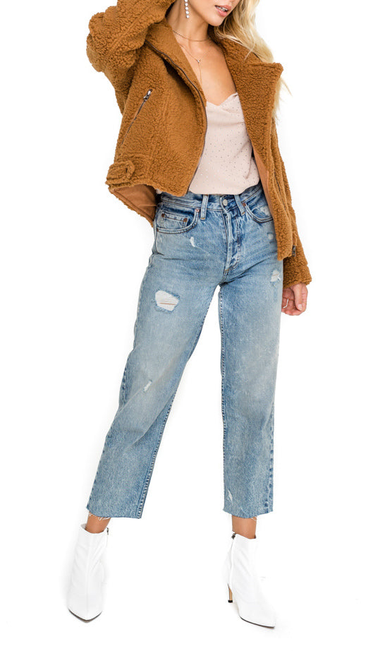 Brooklyn Faux Shearling Teddy Moto Jacket - Coveted Style